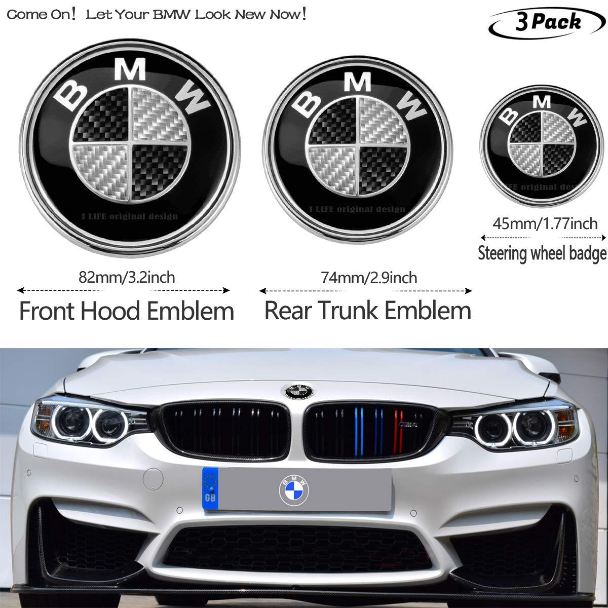 Emblems 3pcs Black and White BMW Carbon fiber texture 82mm Hood ...