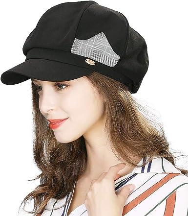 Women Visor Beret Newsboy Cabbie Cap Conductor Sailor Fiddler Fisherman  Baker Winter Hat Ladies Black at Amazon Women's Clothing store