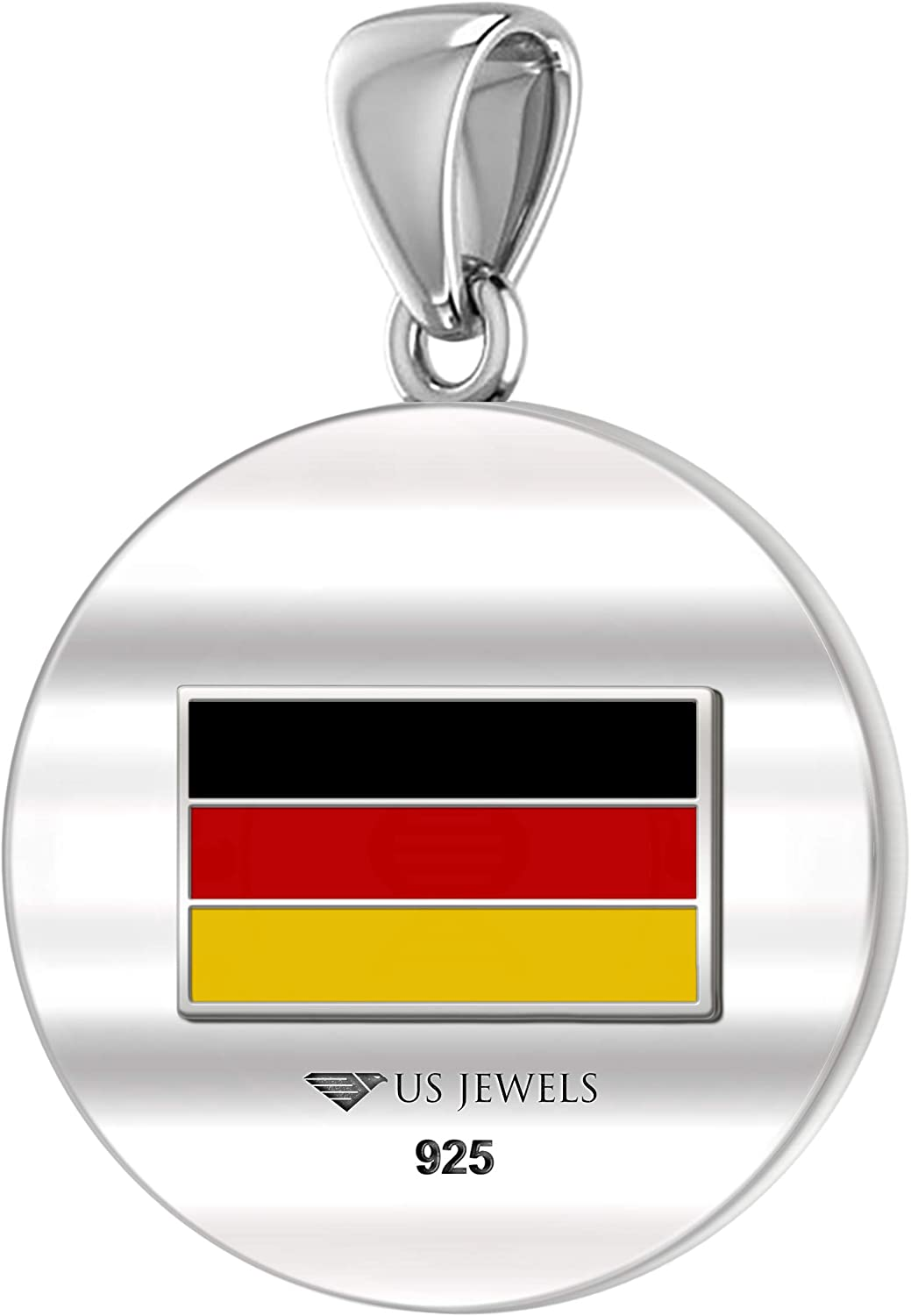 18in to 24in 0.925 Sterling Silver 1in DNA Certified German Heritage Pendant Medal with Flag Necklace