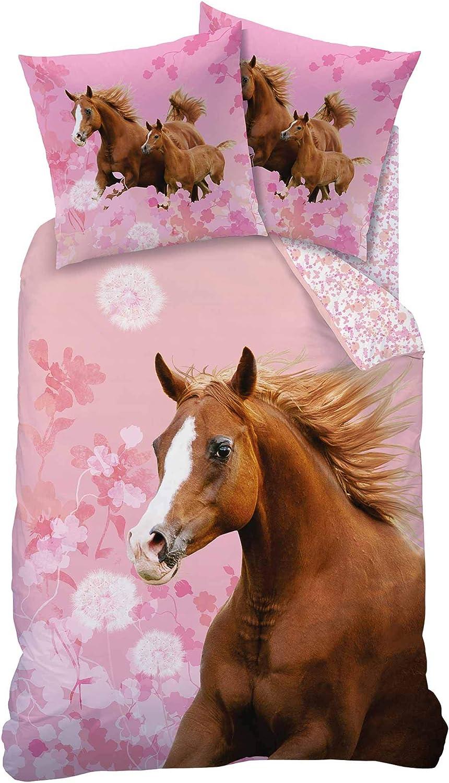 Mate & Rose Rosa Juego de ropa de cama reversible con caballo marrón 135x 20080x 80cm linón Caballos amor flores Horse Flower