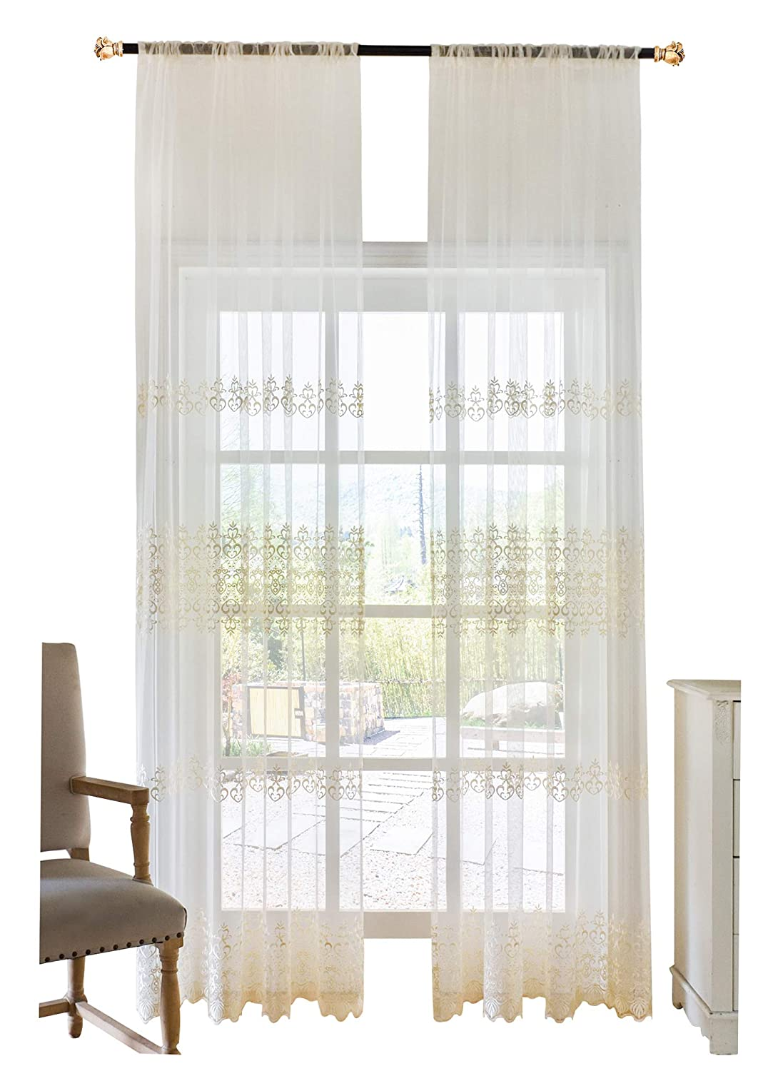 1980196C2BYFWH150102-8518 Elegance Fine Embroidered Sheer Curtain Window Treatment Transparent Rod Pocket Voile Drape for Bedroom Living Room 1 Panel, W 50 x L 102 inch, White