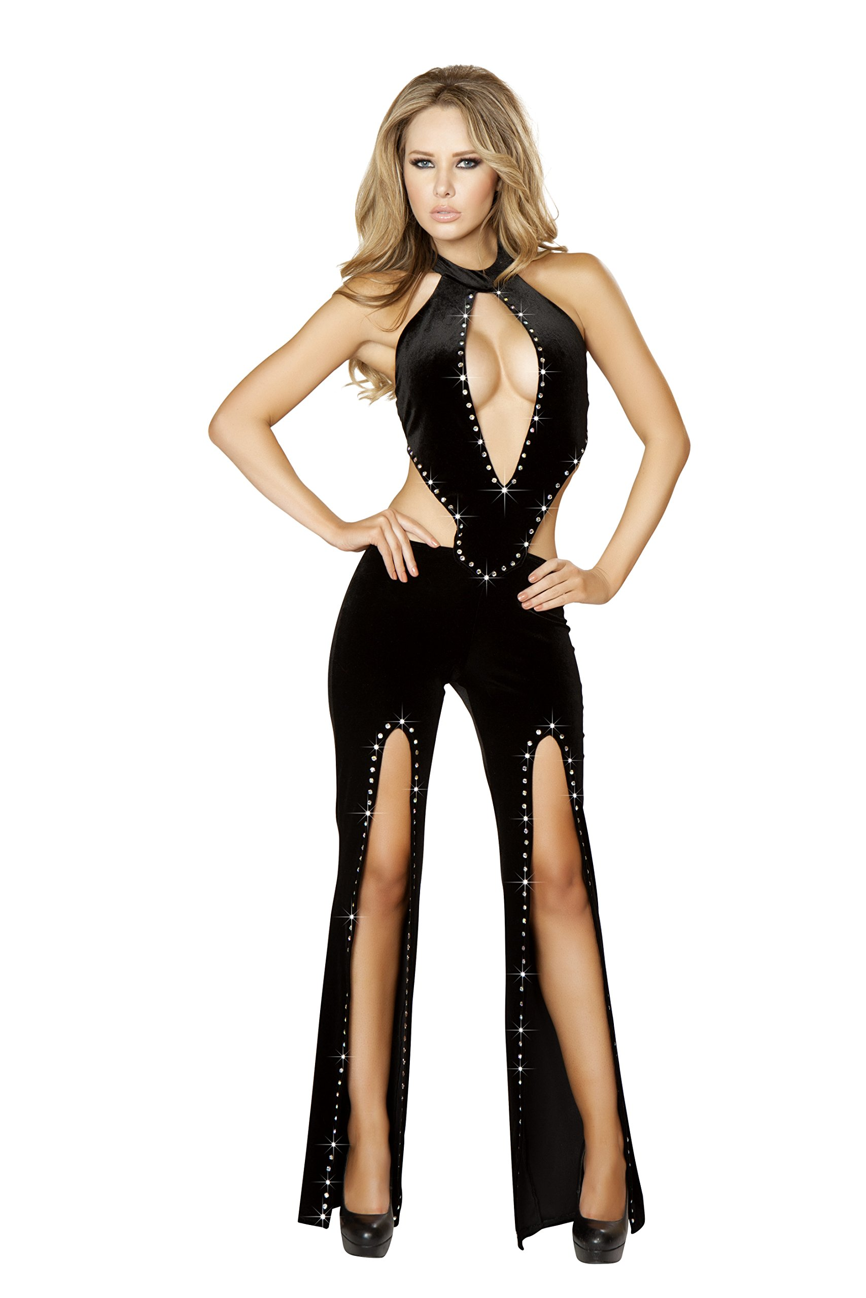 Roma Women's Velvet Cropped Jumpsuit with Slit Legs and Rhinestone Detail, Black, Large