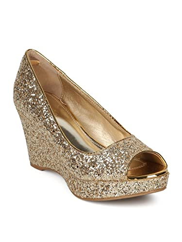 ad327e543a72 Alrisco Women Glitter Encrusted Peep Toe Platform Wedge Heel HD74 - Gold  (Size  6.0