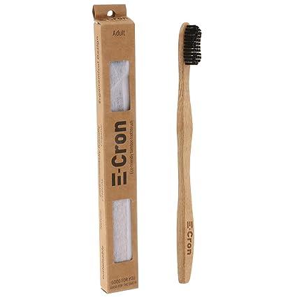 1 x Cepillo de dientes de bambú E-Cron con un mango respetuoso con el