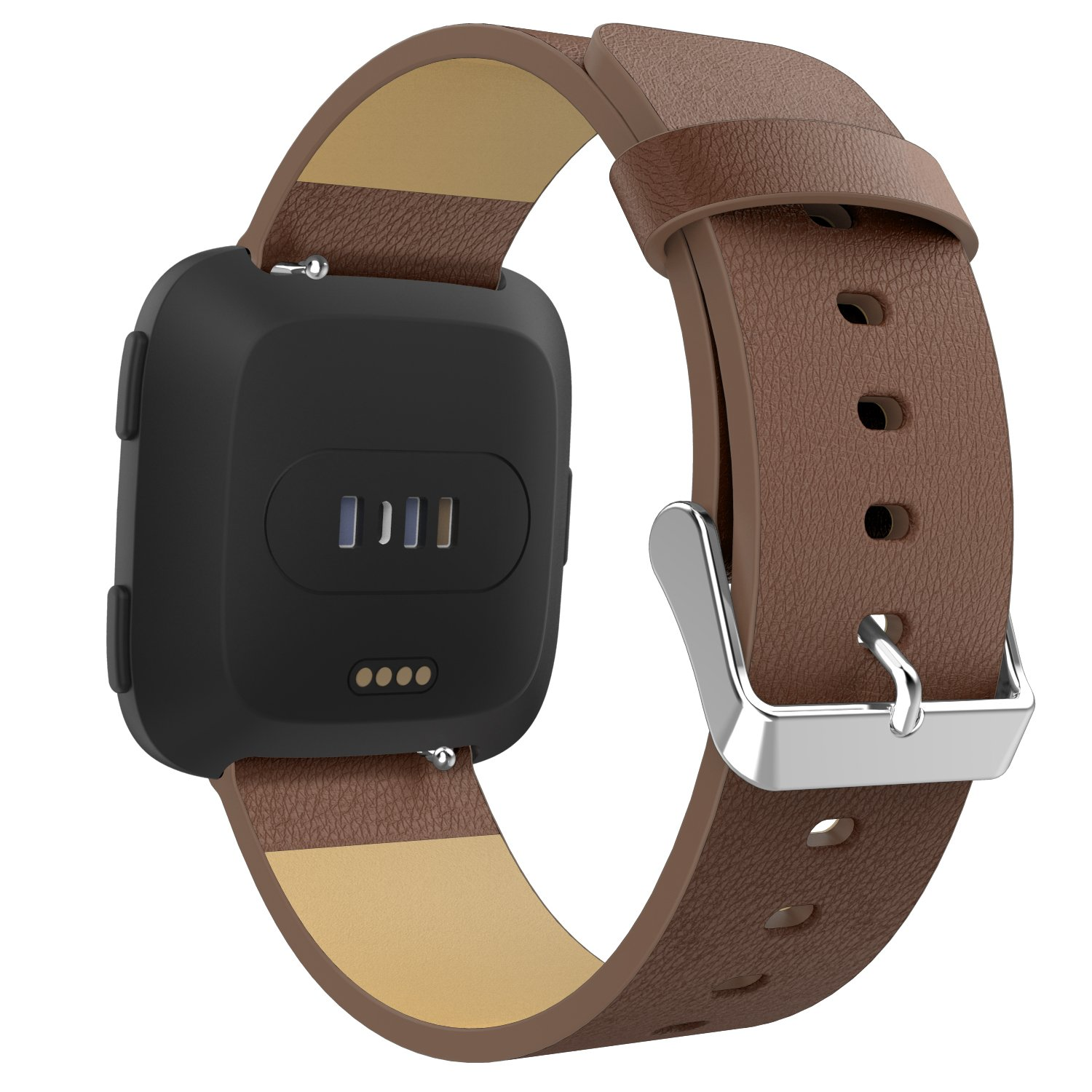 MoKo Fitbit Versa Band for Women Men, Premium Genuine Leather Lichee Pattern Replacement Strap for Fitbit Versa Fitness Wristband, Fits 5.11''-7.48'', Brown