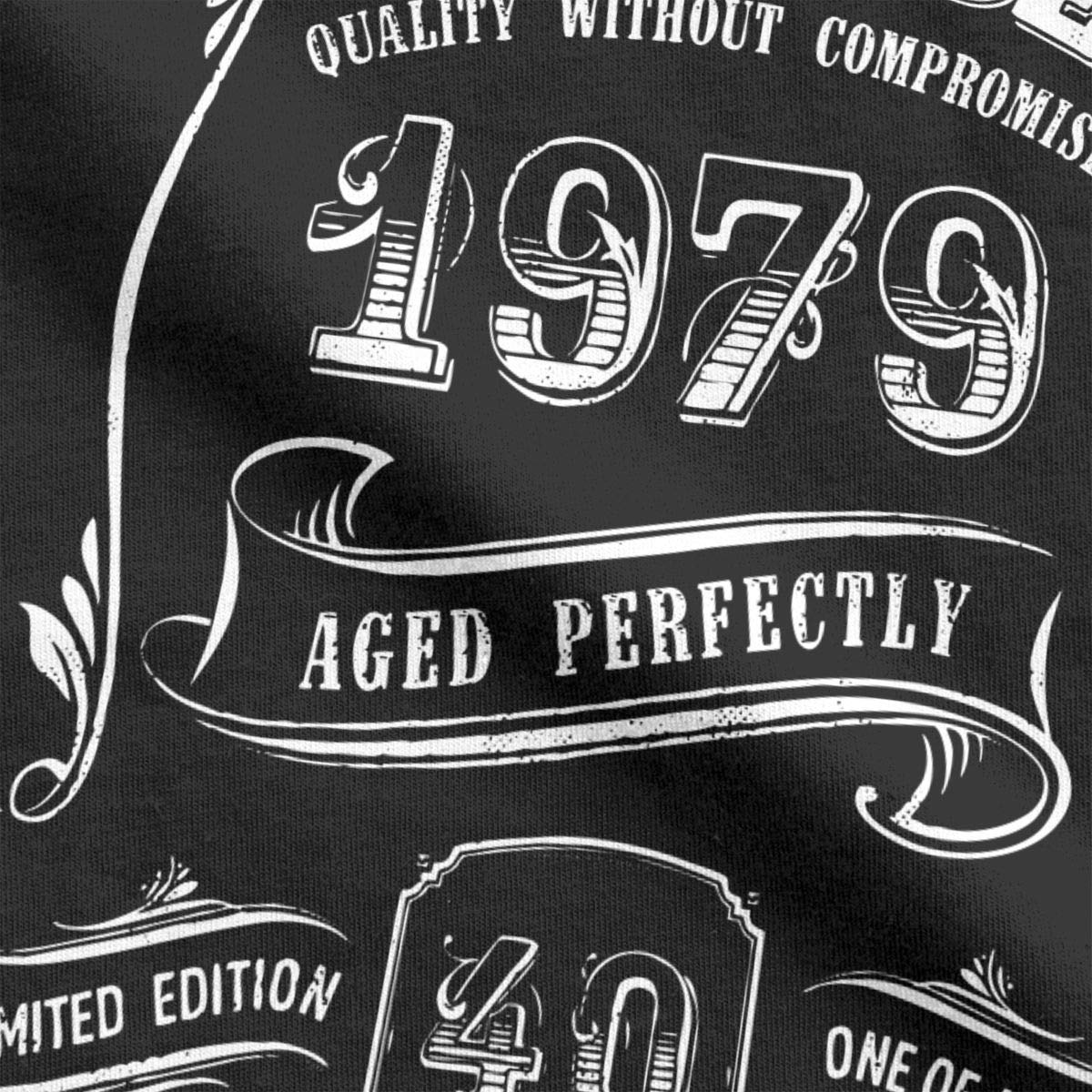 PRINTER77 Gold Vintage 1979 Age Perfect Graphic T Shirt 40th Birthday Gift for Men