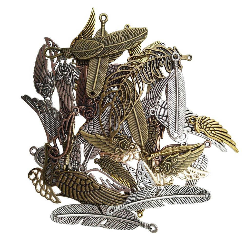 buwant Argent patin/é ailes Pendentif Breloque ancre Pendentif Coeur Accessoires de bijoux bricolage Anker Anh/änger