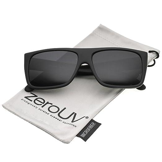 149b4604f38 zeroUV - Men s Rubberized Flat Top Wide Temple Square Sunglasses 57mm  (Black Smoke)