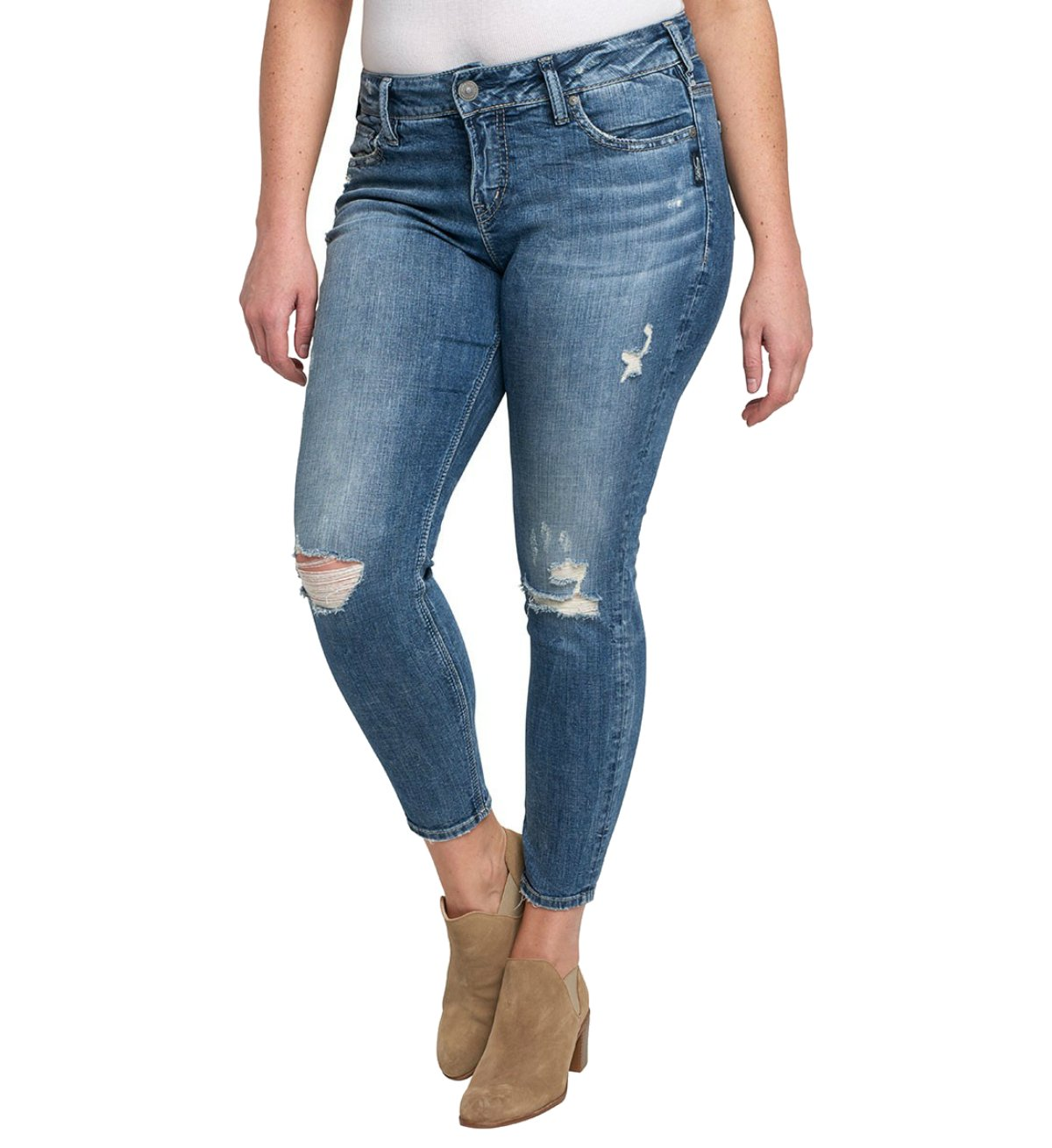 Silver Jeans Women's Plus Size Suki Mid-Rise Ankle Skinny Jeans, Destructed Medium Light Wash, 16X27