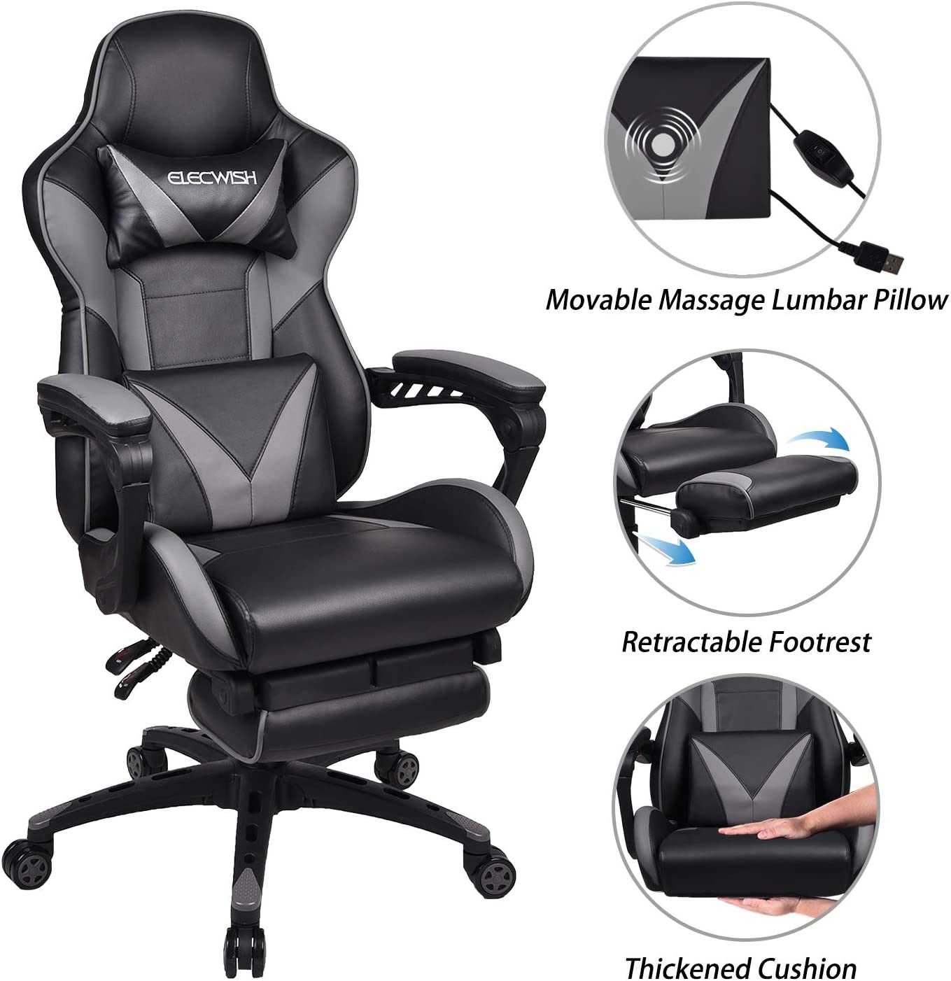 ELECWISH Massage Computer Gaming Chair Reclining Ergonomic Racing Office Chair with Footrest High Back PU Leather Gaming Desk Chair Large Size E-Sport Chair with Headrest and Lumba Support (Grey)