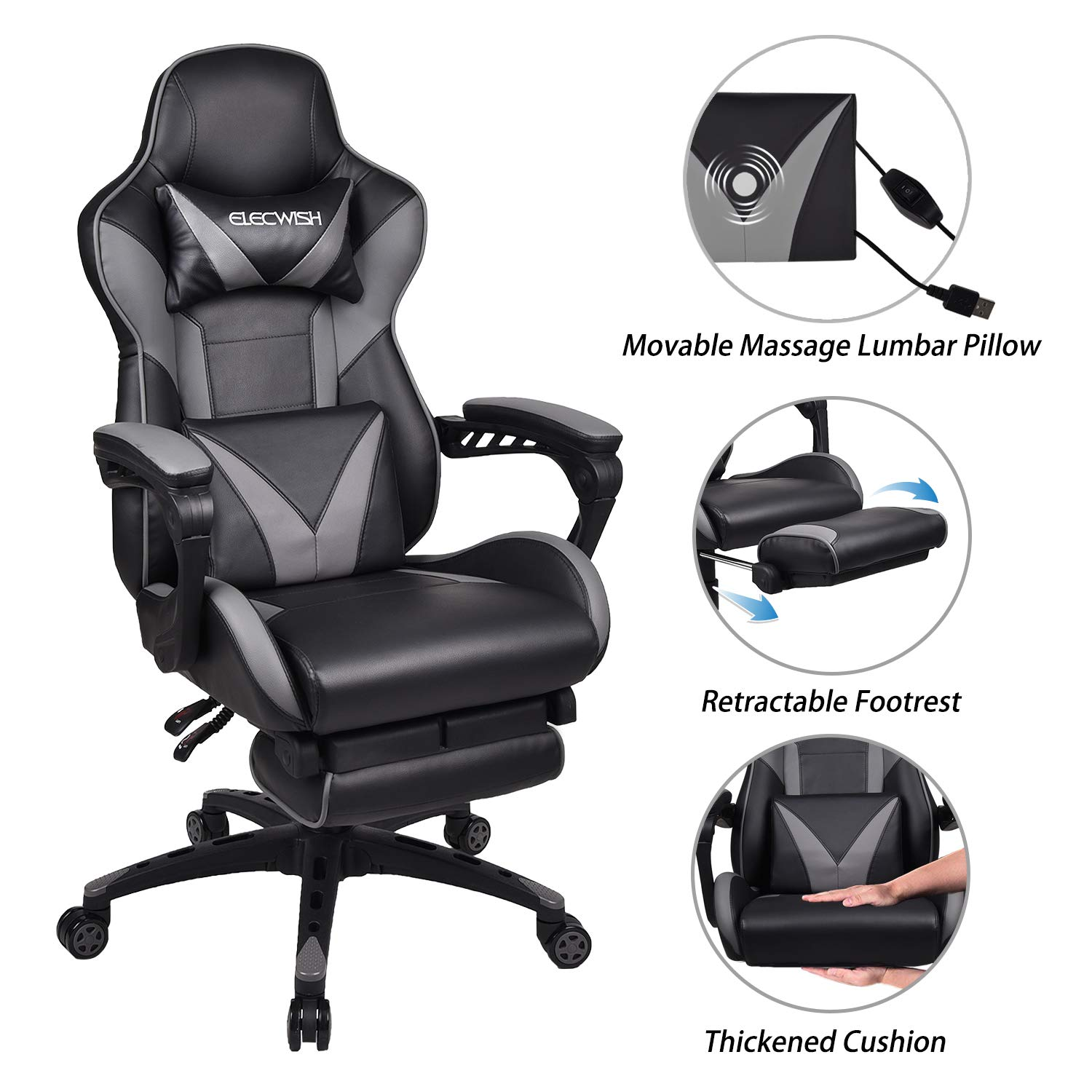ELECWISH Massage Computer Gaming Chair Reclining Ergonomic Racing Office Chair with Footrest High Back PU Leather Gaming Desk Chair Large Size E-Sport Chair with Headrest and Lumba Support (Grey) by ELECWISH