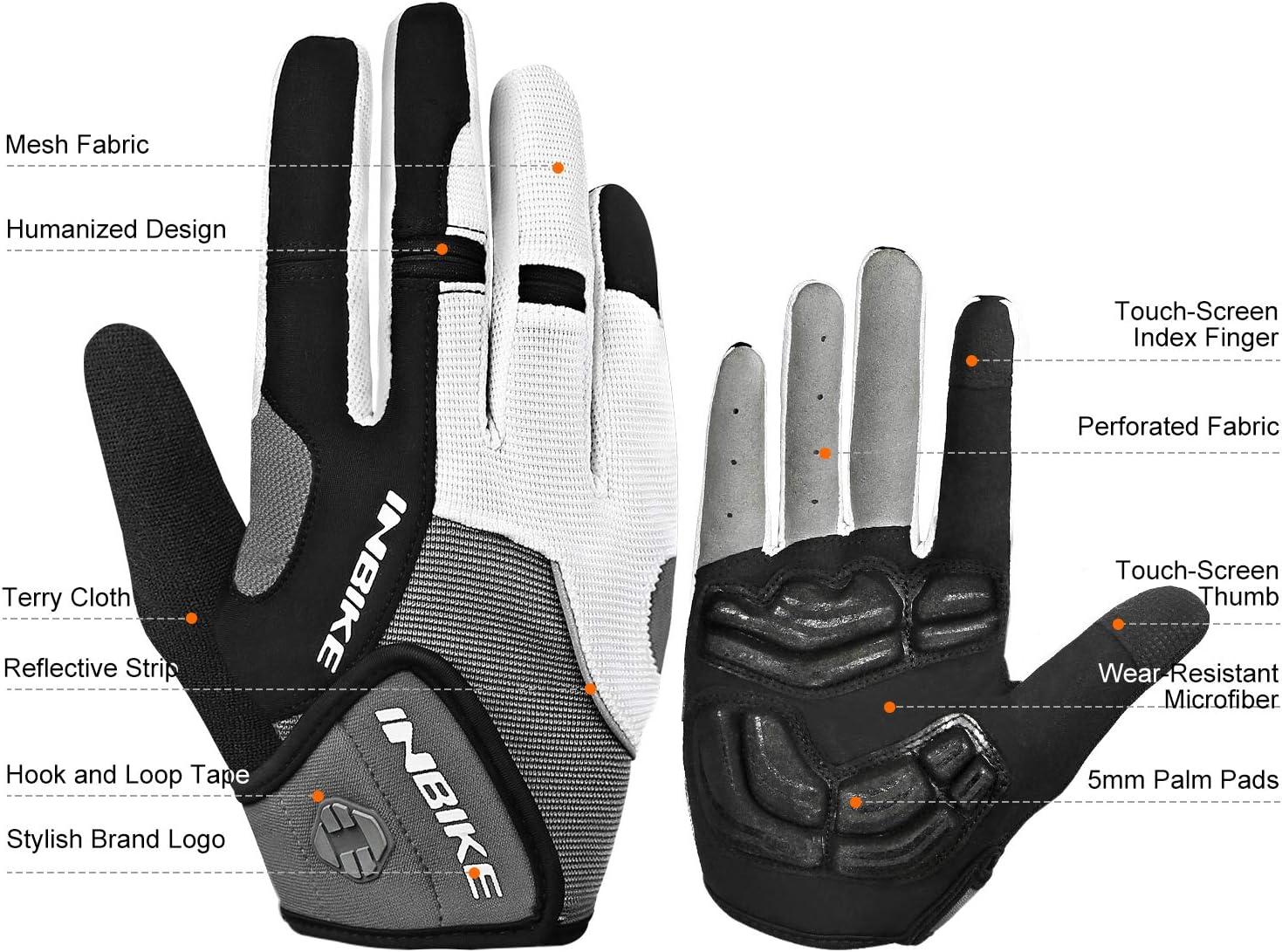 INBIKE 5mm Gel Padded Mens Cycling Gloves Breathable /& Wear Resistant