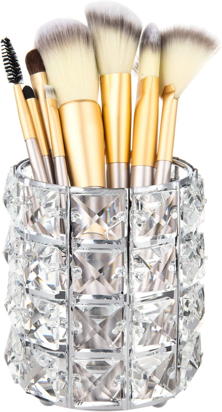 Feyarl Crystal Beads Makeup Brush Holder Silver Bling Handcrafted Comb Brush Pen Pencil Holder Pot Storage Cosmetic Tools Organizer Container Candle Holder (1pcs)