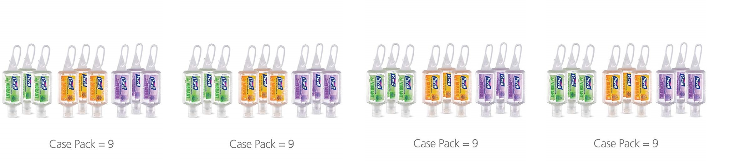 Purell 3900-09-ECME17 Advanced Hand Sanitizer Essentials Portable Bottle - Infused with Essential Oils, 1oz. Travel Sized Jelly Wrap Bottles (4 X Pack of 9)