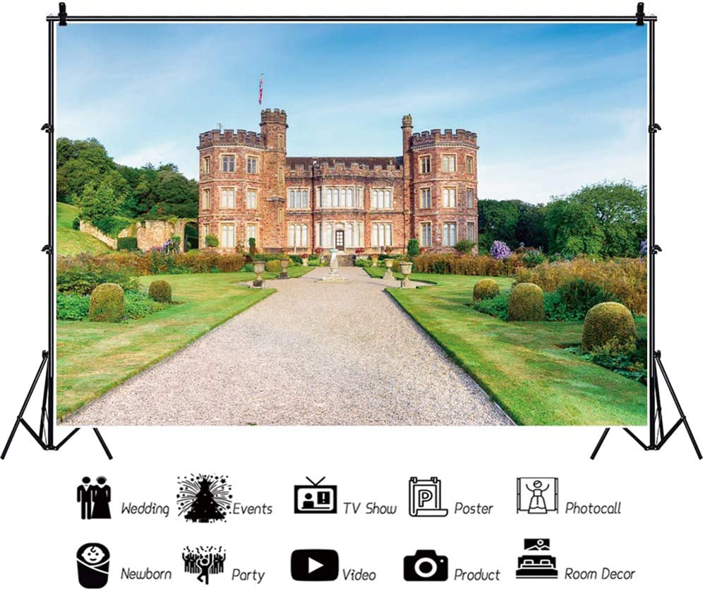 YEELE 15x10ft Vintage Mansion Backdrop A Stately Home at Mount Edgcumbe Photography Background Historical Architecture Old Heritage Kids Adults Artistic Portrait Photoshoot Props Digital Wallpaper
