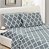 Mellanni Bed Sheet Set Queen-Gray - HIGHEST QUALITY Brushed Microfiber Printed Bedding - Deep Pocket, Wrinkle, Fade, Stain Resistant - Hypoallergenic - 4 Piece (Queen, Quatrefoil Silver - Gray)