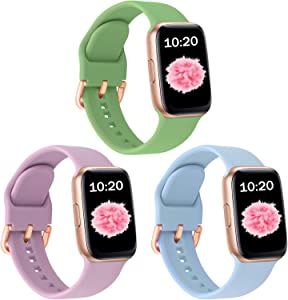SinJonden 3-Pack Bands Compatible with Apple Watch 42mm 44mm 38mm 40mm, Silicone Bands with Rose Gold Buckle for iWatch Series SE/6/5/4/3/2/1 Women (38mm/40mm-S/M, Mint Green/Lavender/Sky Blue)