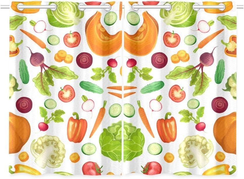 Artsadd Adediy Custom Kitchen Curtain Vegetables Kitchen Curtain 26x39 Inch Two Piece Kitchen Window Decor Home Kitchen