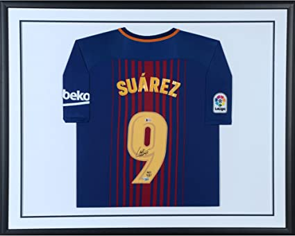 c08b3086104 Image Unavailable. Image not available for. Color  Luis Suarez Barcelona  Standard Framed Autographed Nike Home Jersey - Fanatics Authentic Certified  ...