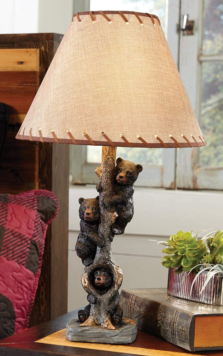 BLACK FOREST DECOR Bears in a Tree Table Lamp