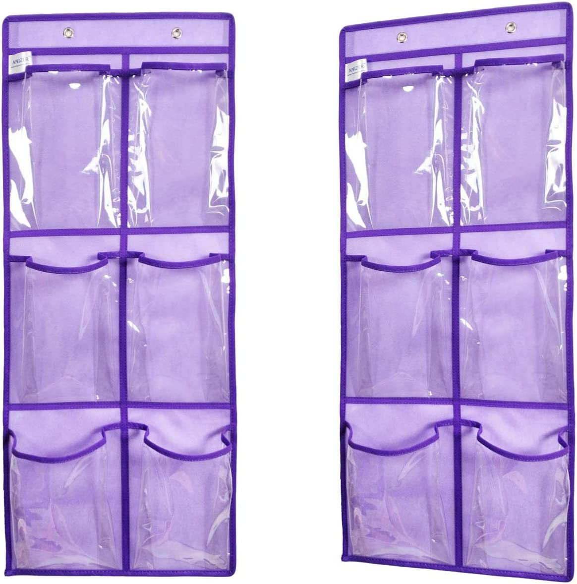 ANIZER Over The Door Hanging Shoe Organizer Narrow Closet Door Shoe Storage 6 Large Clear Pockets Chart 2 Pack (Purple)
