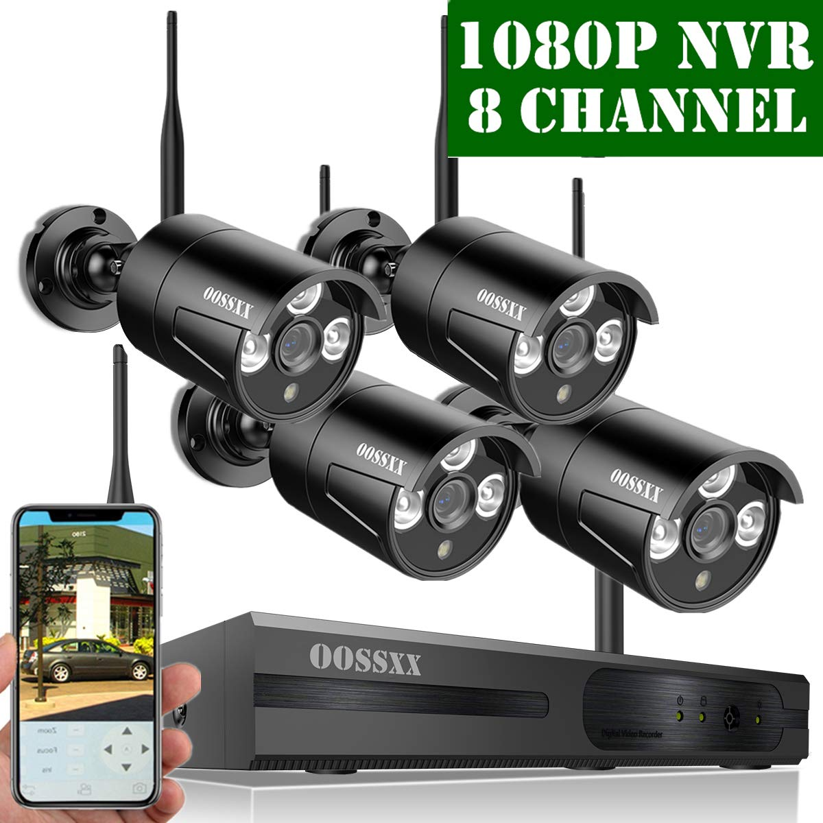 【2019 Update】 OOSSXX HD 1080P 8-Channel Wireless Security Camera System,4 pcs 720P 1.0 Megapixel Wireless Weatherproof Bullet IP Cameras,Plug Play,70FT Night Vision,P2P,App, No Hard Drive by OOSSXX