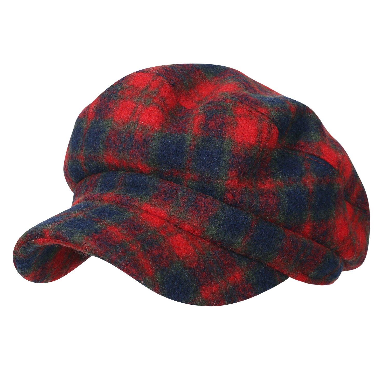ililily Tartan Checkered Flat Top Newsboy Cabbie Cap Duck Bill Flat Hunting Hat, Red Plaid by ililily (Image #1)