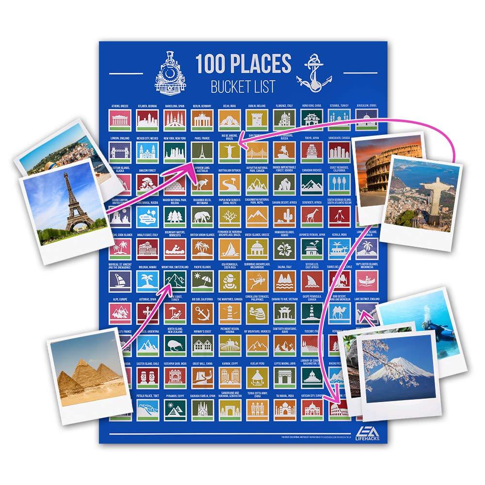 da grattare Via i posti in Cui Viaggi con Tubo per la conservazione Anpro Poster da Grattare di 100 Attrazione turistica dimensioni del palo: 42 * 60 cm