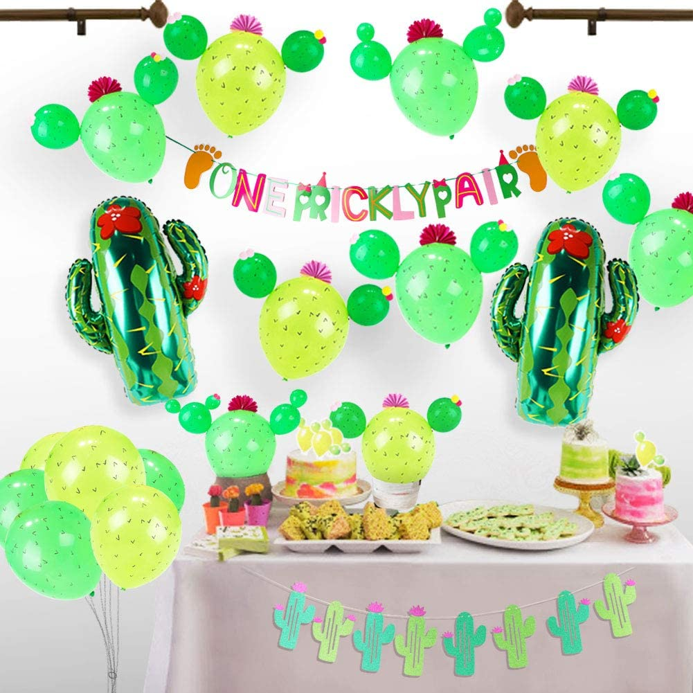 Cactus Party Twin Baby Shower Decorations Set,Cactus Foil Balloon,Party Latex Balloons, Cactus Bunting Banner,Twins Banner,Cupcake Toppers,Paper Flowers for Party Decor