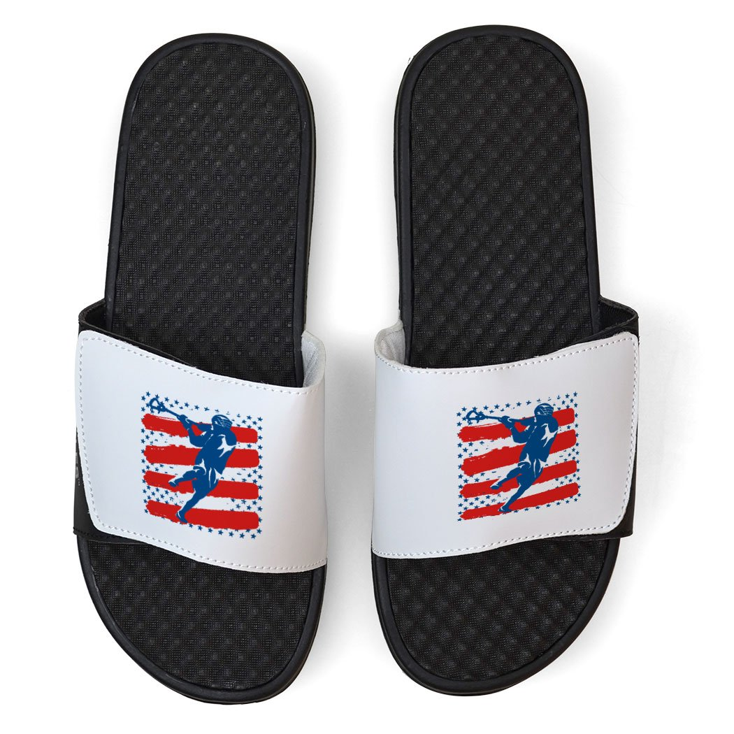 White Guys Lacrosse Slide Sandals - Lax Player Stars and Stripes