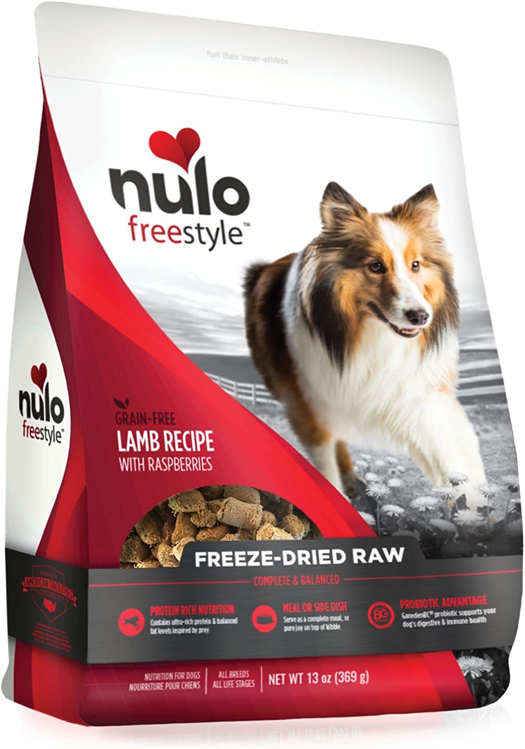 Nulo Freeze Dried Raw Dog Food For All Ages & Breeds: Natural Grain Free Formula With Ganedenbc30 Probiotics For Digestive & Immune Health - Lamb Recipe With Raspberries - 13 Oz Bag
