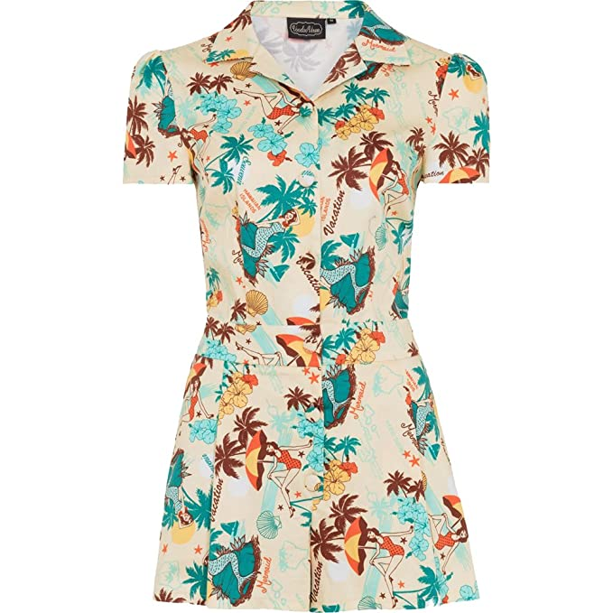 Sailor Dresses, Nautical Theme Dress, WW2 Dresses  Tropical Postcard Print Playsuit Beige $52.99 AT vintagedancer.com