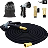 100 Feet Expandable Garden Hose - With Strongest Triple Core Latex & Solid Brass Fittings, Solid 8 Pattern Spray Nozzle USA Standard, Expending Kink Free Easy Storage, Best Flexible By HappyHomey
