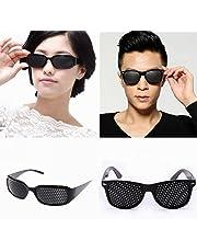 Set di 2 bicchieri a foro stenopeico / occhiali buco nero per la formazione degli occhi per rilassarsi Pinhole Occhiali occhiali griglia con le braccia pieghevoli. ...