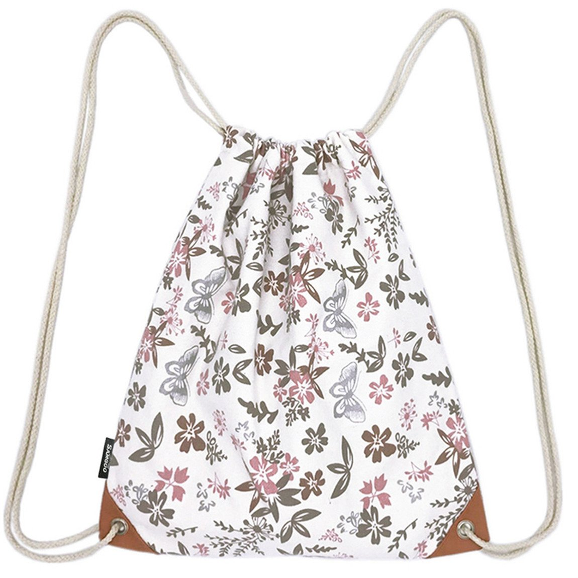 Amazon.com   SAMGOO Lightweight Canvas Drawstring Backpack Bag Sackpack Gym  Sack Sport String Bags Backpacks With PU Pocket (Flower   Butterfly) ... b5e88a9fa4