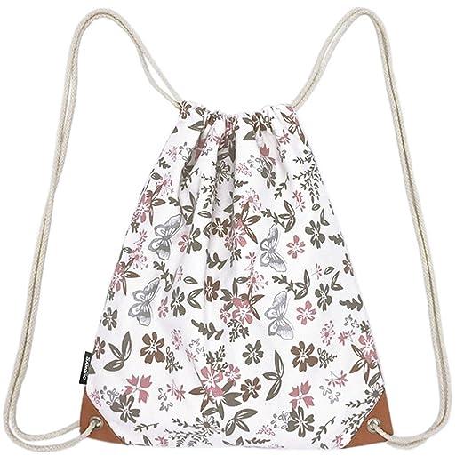 SAMGOO Lightweight Canvas Drawstring Backpack Bag Sackpack Gym Sack Sport  String Bags Backpacks With PU Pocket 0f0be0001d
