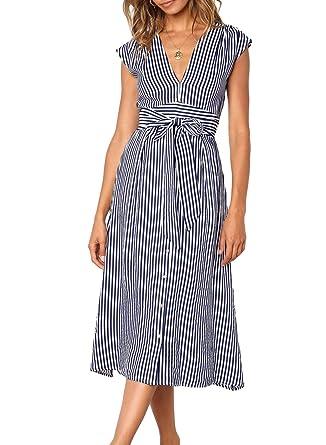615430b56fc Dokotoo Womens Fashion Elegant Summer Striped Button Down Dress High Tie  Waist Sleeveless Tunic Swing Midi