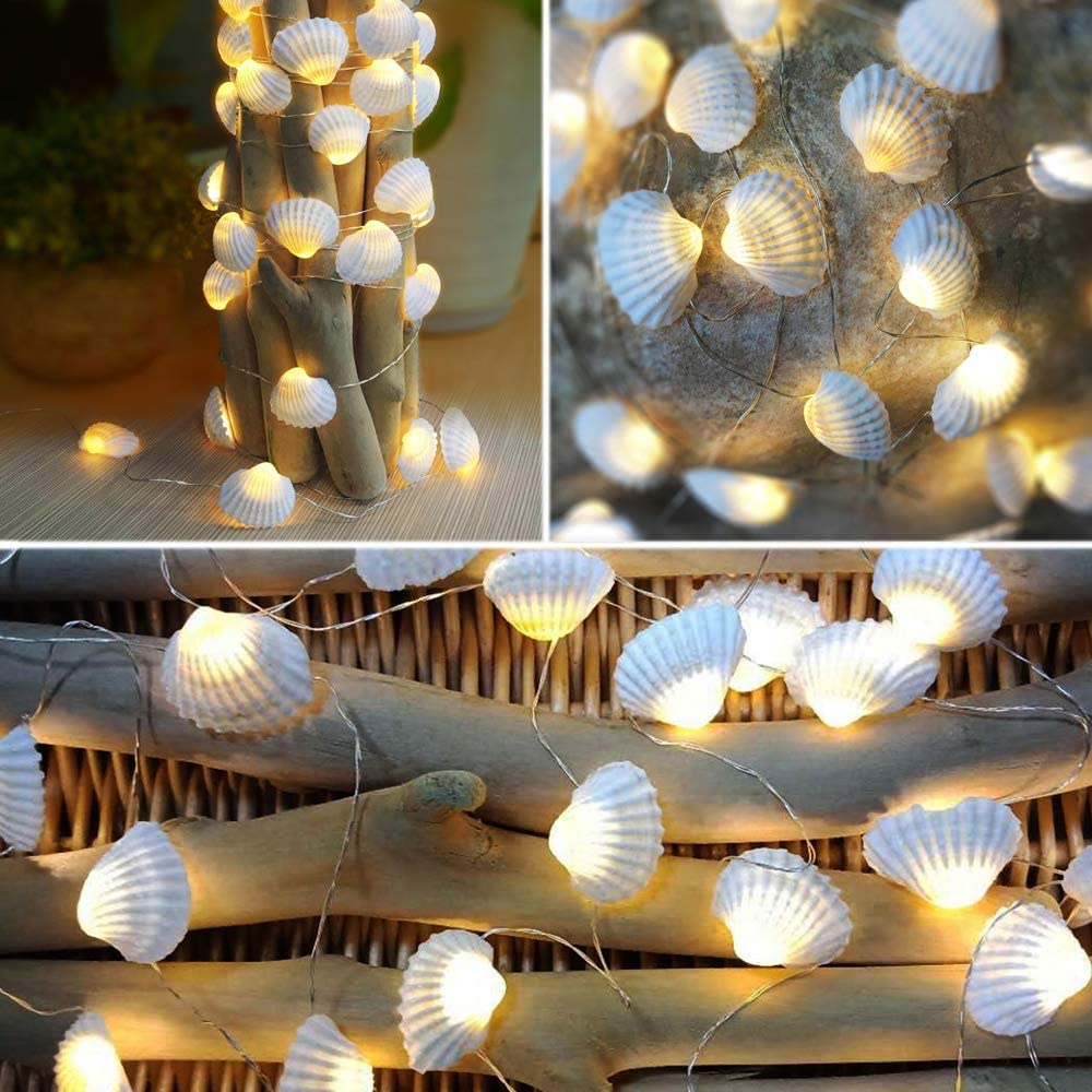 "SFgift Ocean Real Seashell 0.8""(H) 40 LED String Lights 13.85Ft Battery Operated Waterproof Warm White with Timer and Remote Control for Beach Themed Decoration Indoor Covered Outdoor Birthday"