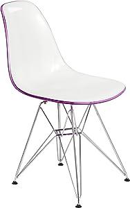 LeisureMod Carey Modern Eiffel Base Molded Dining Side Chair (White Purple)