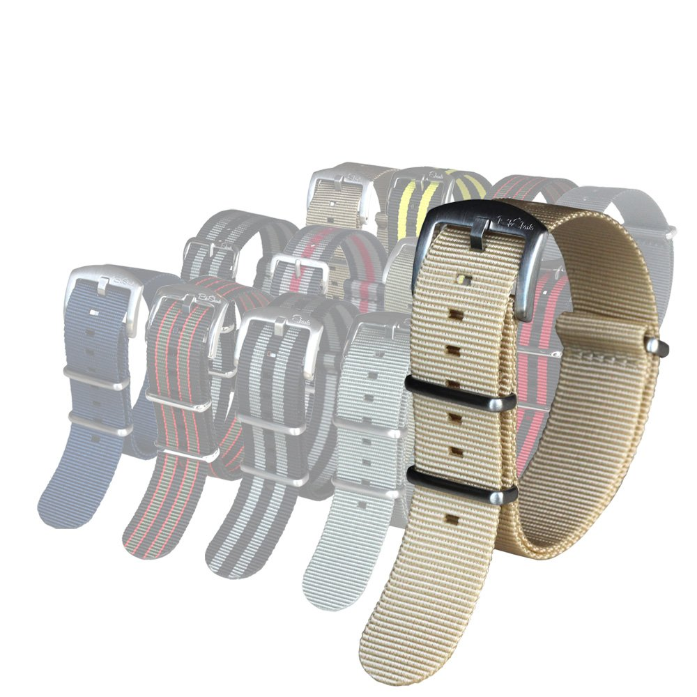 BluShark オリジナルプレミアムナイロン腕時計バンド 複数のサイズとスタイル 20mm Cream (premium buckle) 20mm Cream (premium buckle) Cream (premium buckle) 20mm B06VT4P4NB