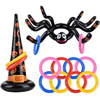balnore 10 Pack Huge Inflatable Spider Witch Hat Ring Toss Game for Kids Adults Halloween Party Favor Game Toys Outdoor…