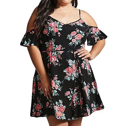 d56d587ce65 Amazon.com: Hot Sale Mini Dress,Jushye Sexy Womens Cold Shoulder Flower  Print Dress Plus Size Camisole Casual Dress (M, Black): Musical Instruments