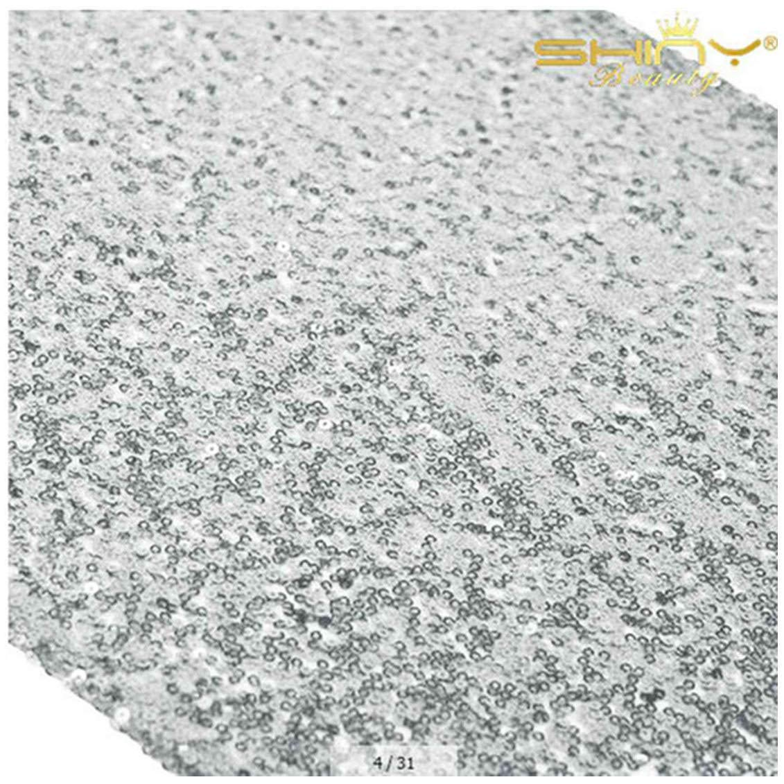 ShinyBeauty Silver Table Runners Pack of 20 Wedding Decor Sequin Table Runner 12x108-Inch Silver Graduation Decorations ~0910S