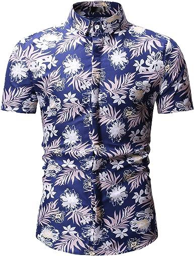 MOGU Camisa Slim Fit de Manga Corta con Estampado Floral Retro de los Hombres Hawaianos: Amazon.es: Ropa y accesorios