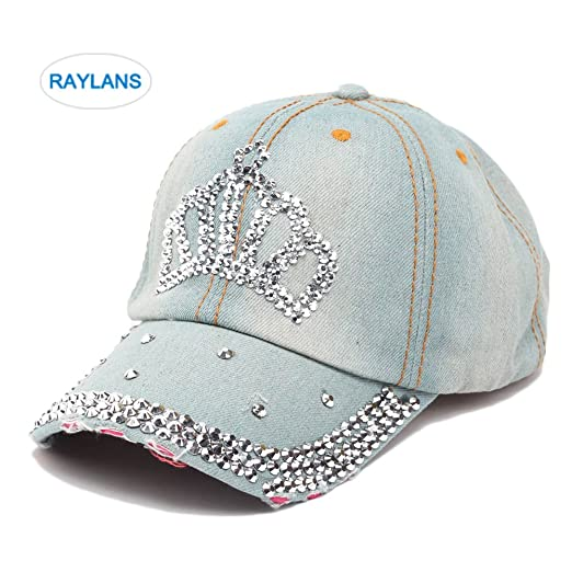 509d44925c94b Raylans Women Men Adjustable Rhinestone Studded Bling Tennis Baseball Cap  Sun Cap Hat (