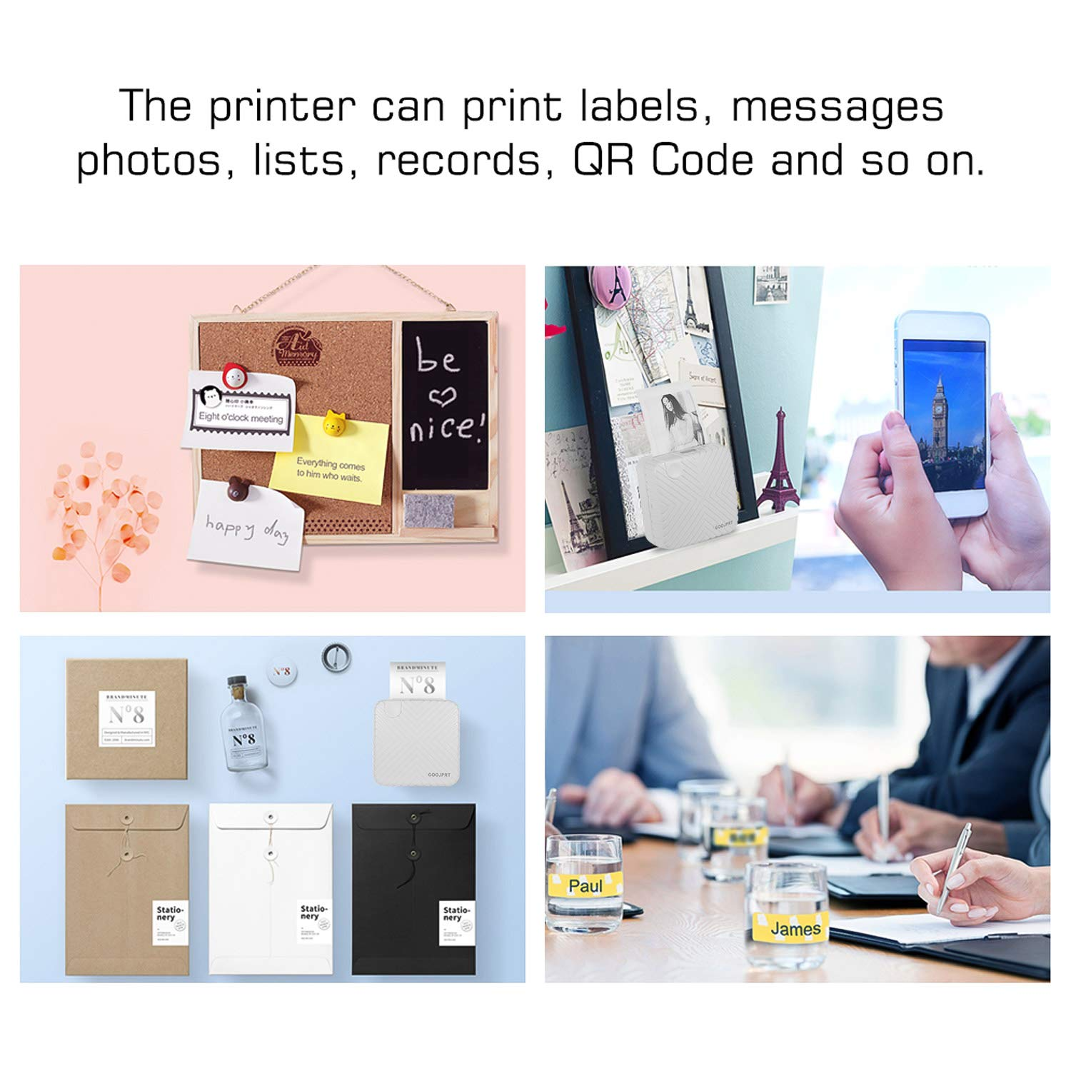 Aibecy Pocket Mini Printer Thermal Mobile Printer Receipt Label Sticker Memo Photo Picture Instant Portable BT Wireless Compatible with Android iOS Window GOOJPRT P6