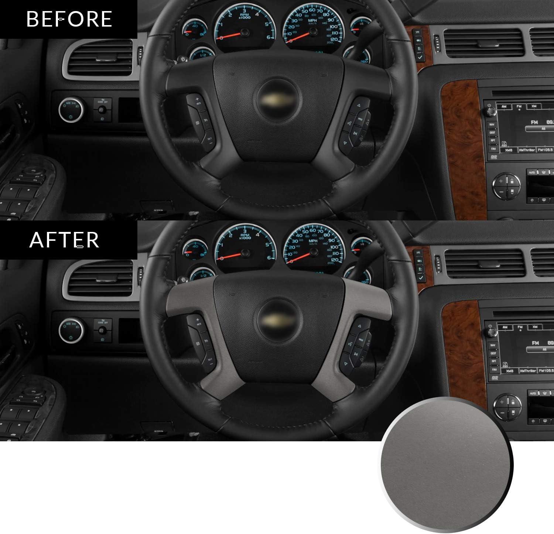 Optix Steering Wheel Spoke Vinyl Decal Overlay Trim Wrap Inserts Sticker Compatible with Tahoe Silverado Suburban Avalanche Sierra Yukon 2007-2013 Metallic Matte Chrome Gunmetal