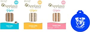 Applaws Lickable Puree Cat Treats in 3 Flavors: (1) Salmon, (1) Chicken and (1) Tuna (.25 Ounce Sachets, 8 Count per Flavor, 24 Treats Total) Plus Silicone Lid