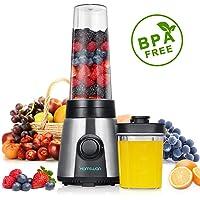 Smoothie Mixer, HAMSWAN KP-1506 Mini tragbare Mixer, tragbare Smoothie Maker, Suppe pürieren Gemüse mit 2 Reiseflaschen für Eltern/Officer Workers