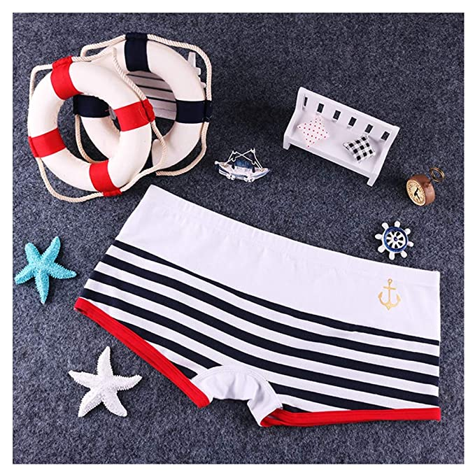 d4e74ab3a35d Pholeey 2018 New 5 Pack Cotton Women Panties Low Rise Stripe Patchwork  Boyshort Female Underwear at Amazon Women's Clothing store: